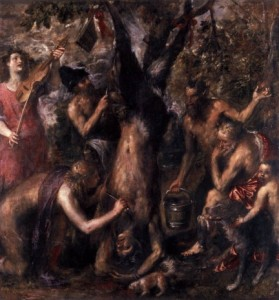 Apollo and Marsyas, painting by Titian (1570)