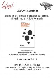 """""""Eidetica del diritto e ontologia sociale"""". LabOnt Seminar – 6 febbraio 2014, Torino"""