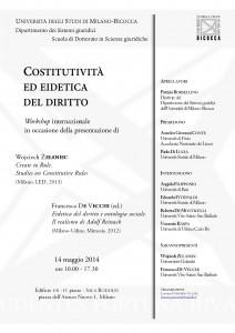 """""""Costitutività ed Eidetica del Diritto"""", Workshop internazionale, 14 maggio 2014, Milano"""