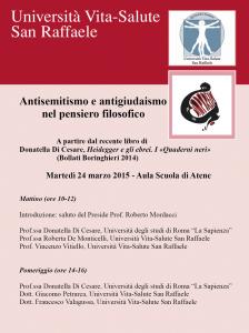 "Seminario ""Antisemitismo e antigiudaismo nel pensiero filosofico"" – Università San Raffaele Milano, 24 marzo 2015"