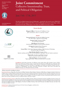 "San Raffaele Spring School of Philosophy – ""Joint Commitment. Collective Intentionality, Trust, and Political Obligation"" – Milan 15th – 17th June, 2015"