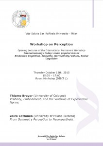 Workshop on Perception – Vita-Salute San Raffaele University, October 15th, 2015