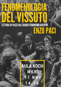 """""""Fenomenologia del vissuto"""" – Lettura dal Diario Fenomenologico di Enzo Paci, Università Vita-Salute San Raffaele, 11 novembre"""