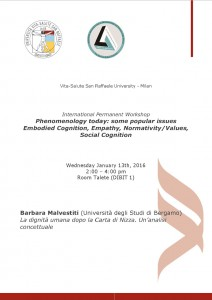 "Workshop ""Phenomenology Today"" – Barbara Malvestiti – January 13th, 2016 – Vita-Salute San Raffaele University, Milan"