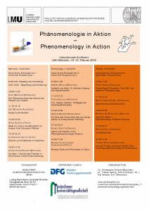 "International Conference ""Phenomenology in Action"" – 10-12 Febbraio 2016, Monaco"