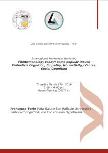 "Workshop ""Phenomenology Today"" – Francesca Forlè, Università Vita-Salute San Raffaele, Milano"