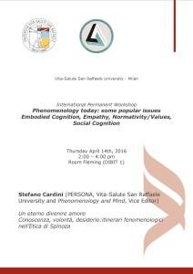 "Workshop ""Phenomenology Today"" – Stefano Cardini, Università Vita-Salute San Raffaele"