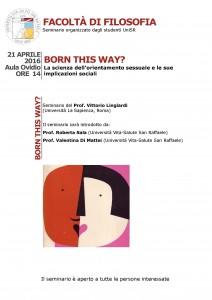 Born this way? La scienza dell'orientamento sessuale e le sue implicazioni sociali – Prof. Vittorio Lingiardi, 21 Aprile 2016, Università Vita-Salute San Raffaele