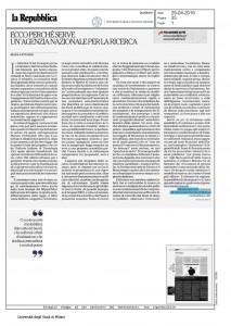 Ecco perchè serve un'agenzia nazionale per la ricerca – di Elena Cattaneo, La Repubblica 29/04/2016