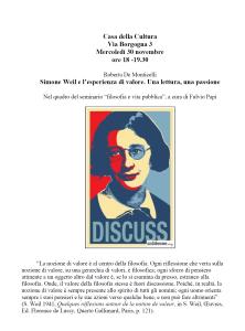 Simone Weil e l'esperienza di valore. Una lettura, una passione – Roberta De Monticelli alla Casa della Cultura, Milano
