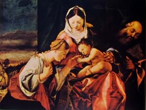 Lorenzo Lotto - Nozze mistiche di S. Caterina d'Alessandria con Gesù Bambino