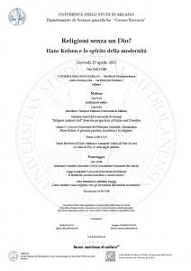 """""""Religioni senza un Dio? Hans Kelsen e lo spirito della modernità"""" – Università degli Studi di Milano, 23 aprile 2015"""