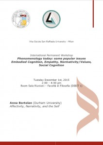 "Workshop ""Phenomenology Today"" – Anna Bortolan, December 1st, 2015 – Vita-Salute San Raffaele University"