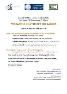 """""""Migrazioni nell'Europa che cambia"""" – Giornata di studi, Università di Milano, 20 novembre 2015"""