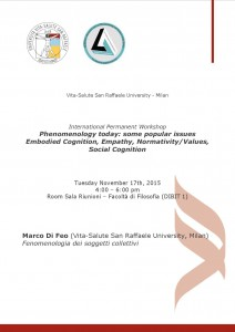 "International Permanent Workshop ""Phenomenology Today"" – Vita-Salute San Raffaele University, Milan – November 17th, 2015"