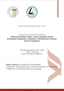 "Workshop ""Phenomenology Today"" – Dana Cazacu, December 10th, 2015 – Vita-Salute San Raffaele University"