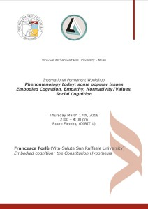 "Workshop ""Phenomenology Today"" – Francesca Forlè, Università Vita-Salute San Raffaele, Milano"