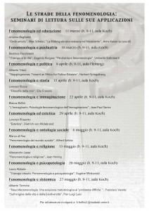 Le strade della fenomenologia: seminari di lettura sulle sue applicazioni – Università Vita-Salute San Raffaele