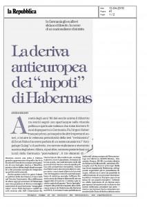 Gli allievi di Habermas e l'antieuropeismo