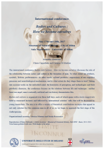 "International Conference ""Bodies and Cultures: How we become ourselves"" – Milan, May 17th-18th 2017"