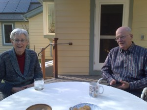 Lynne and Tom on their  porch - Amherst May 2017