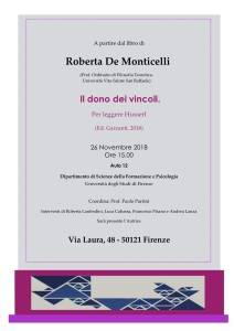 Roberta De Monticelli, Il dono dei vincoli. Università degli Studi di Firenze (26 Novembre)