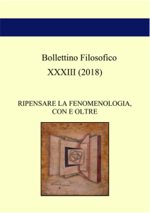 BOLLETTINO FILOSOFICO: RIPENSARE LA FENOMENOLOGIA, CON E OLTRE – VOL 33 (2018)