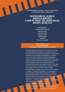 Il dono dei vincoli. Per leggere Husserl – Presentazione del libro di Roberta De Monticelli (Parma)