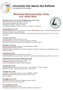 Workshop Phenomenology Today, 2019 – Università Vita-Salute San Raffaele (Milano)