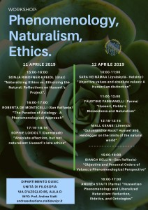 Phenomenology, Naturalism, Ethics – 11/12 Aprile, Università di Parma