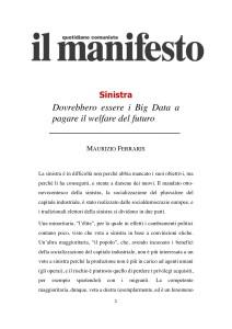 Maurizio Ferraris – Dovrebbero essere i Big Data a pagare il welfare del futuro