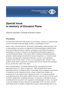 Phenomenological Reviews: CALL FOR PAPERS IN MEMORY OF GIOVANNI PIANA