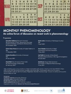 MONTHLY PHENOMENOLOGY- An online forum of discussion on recent work in phenomenology