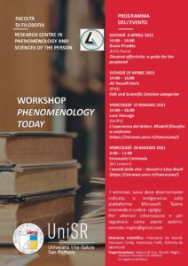 Workshop Phenomenology Today – Unisr Centro Persona – Seminario Giulia Piredda, 8 aprile 2021
