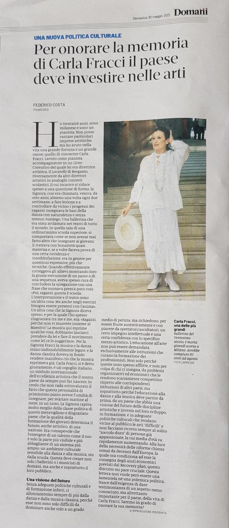 Carla Fracci e le arti sorelle: un vanto italiano anche nella formazione. Di Federico Costa